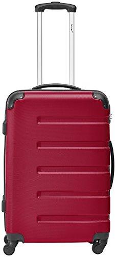 Packenger Koffer - Marina (L), Rot, 4 Rollen, 64 Liter, 65cm, Koffer mit Zahlenschloss, Hartschalenkoffer (ABS) robuster Trolley Reisekoffer
