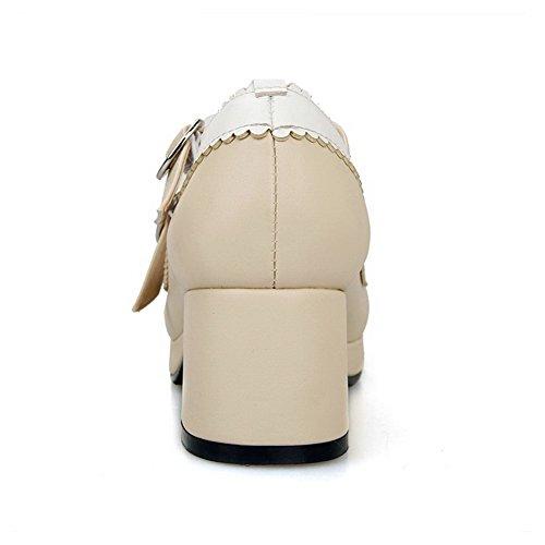 AllhqFashion Damen Mittler Absatz Pu Gemischte Farbe Quadratisch Zehe Pumps Schuhe Cremefarben