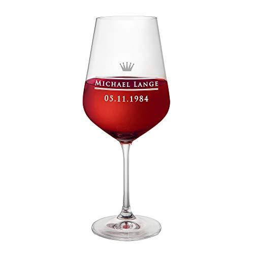 AMAVEL Calice da Vino Rosso in Vetro con Incisione - Motivo Corona - Personalizzato con Nome e Data - Bicchiere da Collezione - Idea Regalo di Compleanno o di Natale