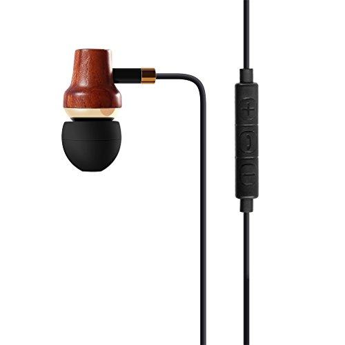 LESHP Earbud Headphones (D8, Schwarz) (Dunkle Holzfarbe) Earbud Kopfhörer, LESHP Premium Holz Kupfer In-Ear Geräuschisolierende Ohrhörer mit Mikrofon (Mic) & Lautstärkeregler