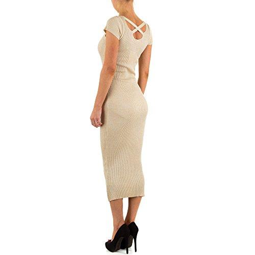 Geripptes Stretch Kleid Für Damen bei Ital-Design Creme