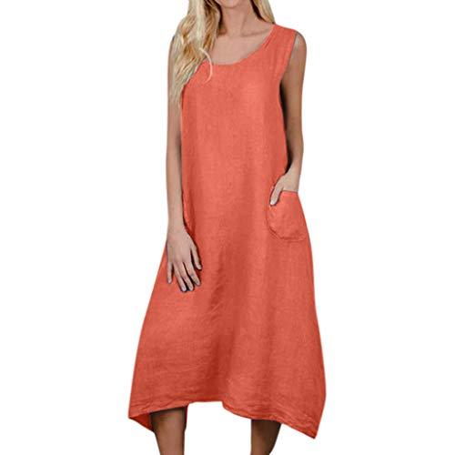 SCEMARK Damen Beiläufig Solides ärmelloses Kleid Langes Leinenkleid mit Rundhalsausschnitt und Tasche Langes Shirt Lose Tunika T-Shirt Kleid -