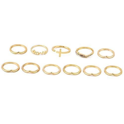 LoveAloe Vintage Star Moon Kristall Brief Liebe Fingerringe Set Für Frauen Punk Style Nuckle Ring Set, Gold Farbe