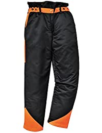 PORTWEST CH11 Mens Forestry Oak Trousers Black/Orange CH11BK-RL