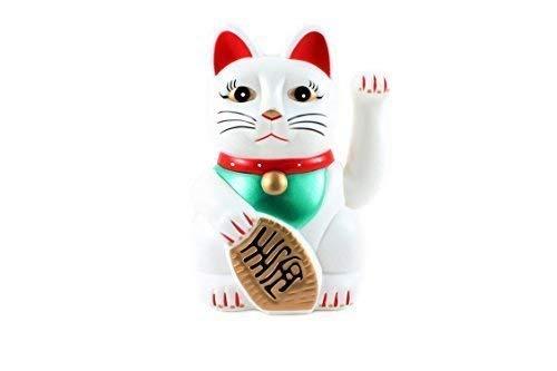 """6"""" Gato de la Suerte Maneki Neko Saludando Gato de la Suerte (Muchos Colores) - Blanco - Tenga en cuenta que este producto tiene un compartimento para la batería sin tapa, esto es parte de su diseño."""