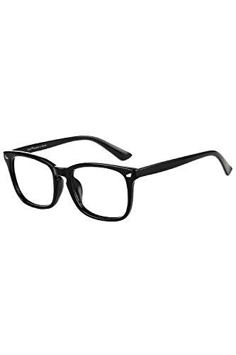 Cyxus Lunette Anti-Lumière Bleue, Lunettes d'Ordinateur - Anti fatigue Oculaire Filtre UV, Lunettes Anti-Lumière Bleue de Bureau pour Homme, Femme (Monture Noir & Lentille Transparente)