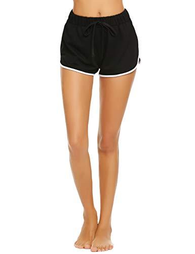 Damen Kurze Hose Shorts Schlafanzughose Schlafhose Yoga Sporthose Running Gym Beiläufige Elastische Shorts, Schwarz, Gr. S(34-36)
