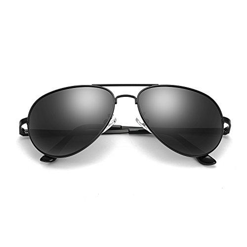SODQW Sonnenbrille Herren Polarisiert Pilotenbrille Klassisch Flieger Brille für Autofahren Angeln Metallrahmen 100% UVA/UVB Schutz (Schwarz/Graue polarisierte Linse(kein Spiegel))
