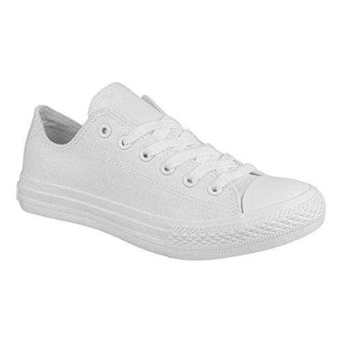 Elara Unisex Sneaker Textil Turnschuh Low top Chunkyrayan 36-46 B-YD3230-Allwhite-38P -