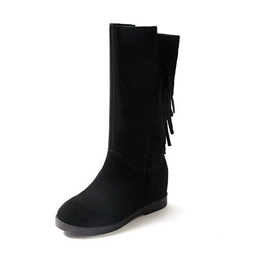 AllhqFashion Damen Ziehen auf Blend-Materialien Rund Zehe Stiefel, Weiß, 37
