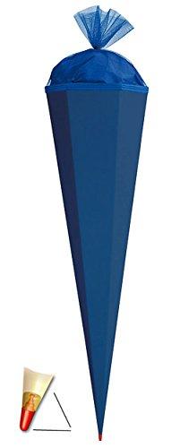 Schultüte - Rohling - kräftiges BLAU - 70 cm - mit Holzspitze / Filzabschluß - Zuckertüte Roth - zum Basteln, Bemalen und Bekleben Bastelschultüte