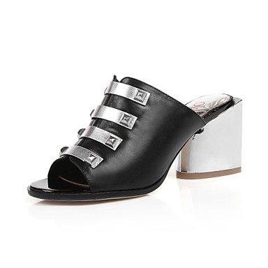 Ch & Tou Womens-sandals-casual-open-square-pu (poliuretano) -negro / Azul / Carne Negra