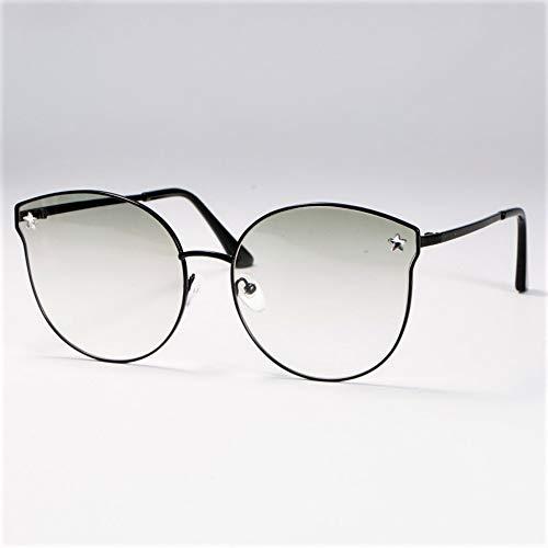 Sonnenbrille,Crystal Cat Eye Sonnenbrille Männer Frauen Mode Farben Uv400 Vintage Brille Schwarz Rahmen Transparent Spiegel