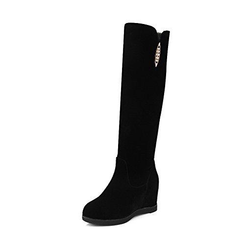 AgooLar Damen Beschlagene Strass Hoher Absatz Rund Zehe Eingelegt Ziehen auf Stiefel, Schwarz, 39