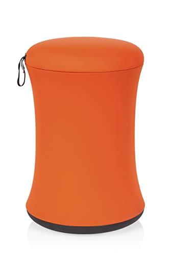 hjh OFFICE 738103 Fitness Hocker Benny Stoff Orange Sitzhocker für bewegtes Sitzen, höhenverstellbar