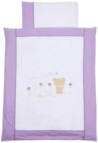 Easy Baby 410-40 Parure de lit 100 x 135 cm + 40 x 60 cm Motif brodé ourson Violet
