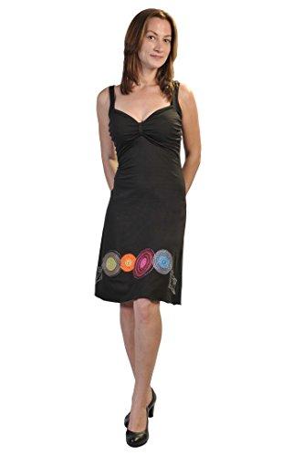 Frauen-Sommer-Sleeveless Abend Sun-Kleid mit bunten Stickereien Schwarz
