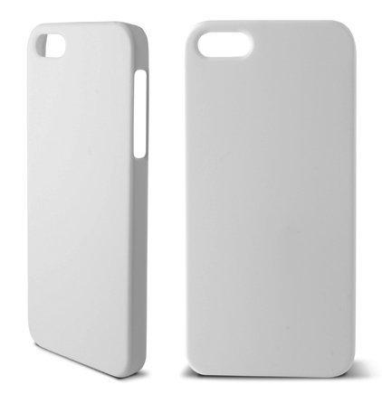 Ksix Coque en caoutchouc rigide pour iPhone 5–Blanc blanc
