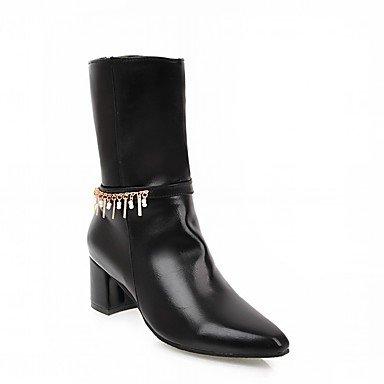 Rtry Chaussures Pu Cuirette Automne Hiver Confort Nouveauté Mode Bottes Chunky Talons Mi-mollet Bottes Punta Zipper Pour Party & Amp; Us10.5 / Eu42 / Uk8.5 / Cn43
