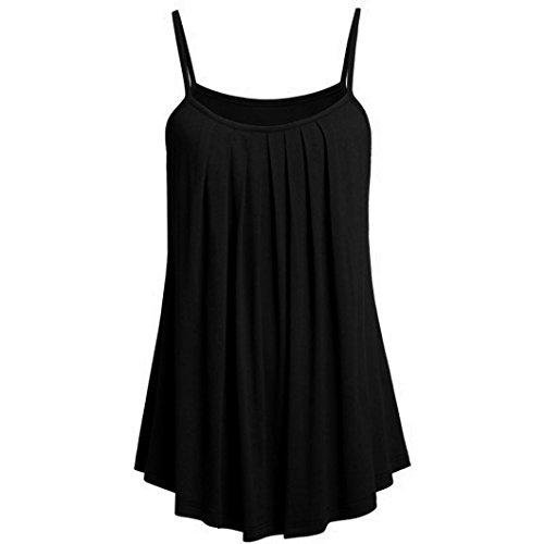p, (S ~ 6XL) Damen Mode Chffon Lose Leibchen Einfarbig Sommer Ärmellos Plus Size Weste Strand Tops (5XL, Schwarz) (2017 Plus Size Kostüme)