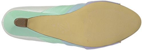 Pin Up Couture LULU-05 Whit-Mint Multi Faux Leather
