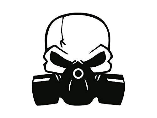 NetSpares 119566569 1 x 2 Plott Aufkleber Totenkopf mit Gasmaske Maske Skull Sticker Tuning Fun Gag