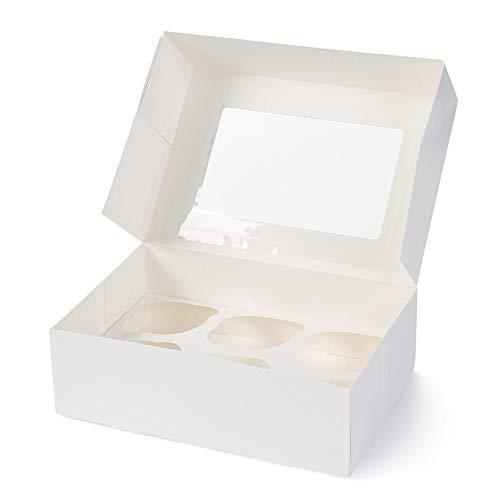 BIOZOYG 6er Cupcake Muffin Box Karton mit großem Sichtfenster inkl. Einlage I 25 Stück Patisserieschachteln Geschenkboxen weiß I Bio Box Take Away Kartonschachtel biologisch abbaubar Bio-cupcake
