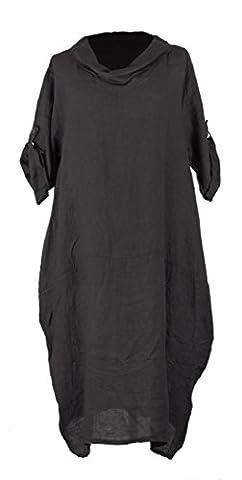 TEXTURE ONLINE Ladies Women Italian Lagenlook Quirky Plain Short Sleeve Cowl Neck 2 Pocket Tulip Linen Midi Dress One Size Plus UK 12-16 (One Size, Dark Grey)