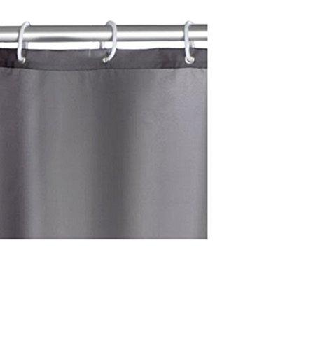 Wenko Duschvorhang Uni Grey mit 12 Duschvorhangringen - 3