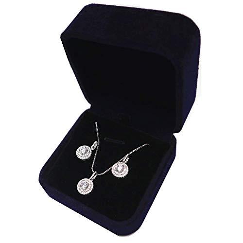 Ohrringe Halskette Schmuckset, weißes Gold überzogen Solitaire Cubic Zirconia, perfektes Geschenk für Frauen (Runde)