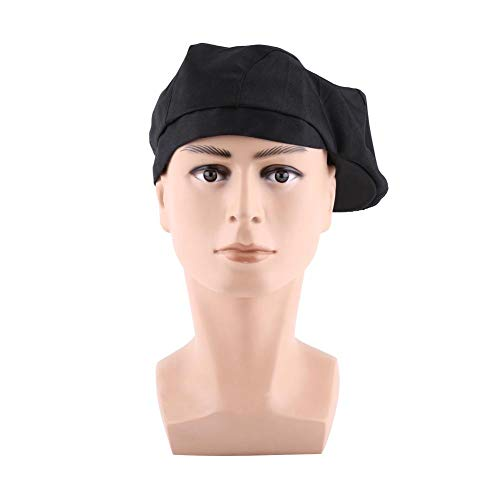 Chef Hut Stylish Männer Frauen Barett Hut Cotton Chef Hut Catering Baker Attendant Küche Koch Coffee Shop Restaurant Duckbill Beret Golf Caps(Schwarz)