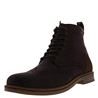 Mens Barbour Belsay Leather Chocolate Work Brogue Smart Office Boots