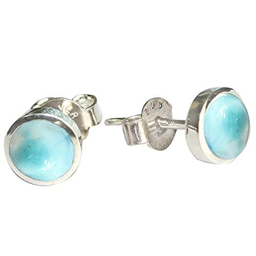 8 mm natürlicher Larimar Edelstein Ohrstecker Silber 925 Ohrringe für Mädchen Schmuck 250 (Larimar-schmuck)