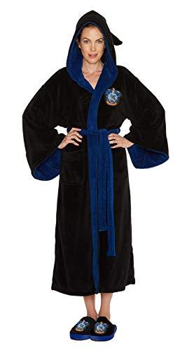 Unbekannt Groovy Harry Potter Ravenclaw Damen Bademantel Fleece Hausmantel Bademantel Schwarz