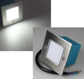 LED Wand-Einbauleuchte Edelstahl eckig kaltweiß 230V 1,5W IP54 Treppenlicht, Stufenlicht von NoName - Lampenhans.de
