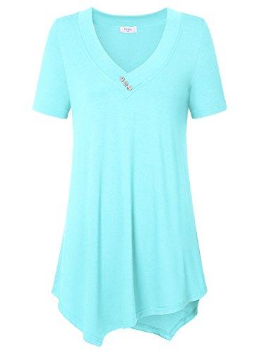 Ca Kra Damen T-Shirt Kurzarmshirt Plissee Front Tunika Tops Locker Sommershirts mit Knöpfe(Hellblau,XXXL) (Leichtes Knopf-front)