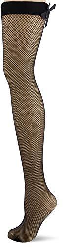 Pour Moi? Damen All Wrapped Up Bow Fishnet Back Seam Stocking Halterlose Strümpfe, Schwarz Black, Large (Herstellergröße: M/L) - Bow Back Seam Stockings