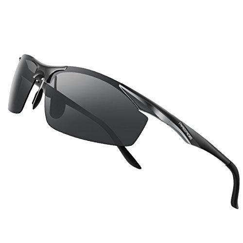 PAERDE sonnenbrille herren polarisierte sport uvex brille Al-Mg licht Rahmen verspiegelt sonnenbrille,Schwarz