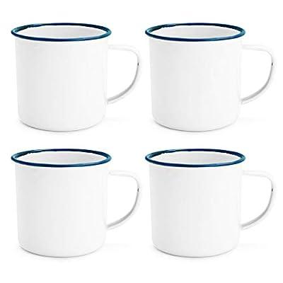 Rink Drink White Enamel Espresso Coffee Mugs - 150ml - Blue Trim - Pack of 4 from Rink Drink