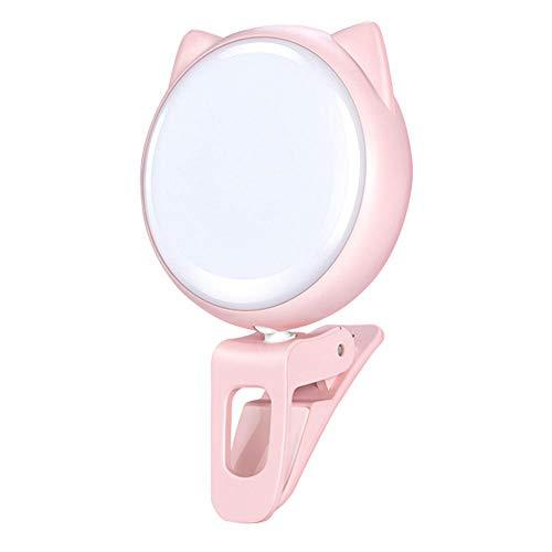 TODAYTOP Pince Rechargeable pour oreillette de beauté de Forme Chat-Oreille sur la Lampe Selfie Light pour téléphone