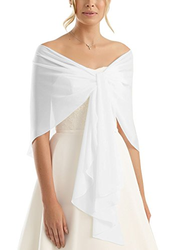 Brautstola Schal in Form, Stola Rundstola Chiffon zum Hochzeitskleid / Abendkleid, weiß