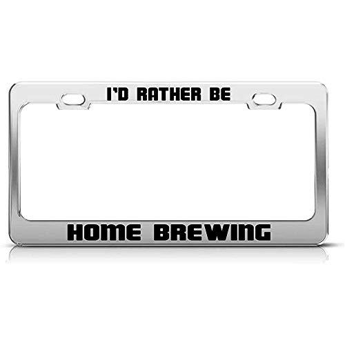 Telaio targa auto I 'D Piuttosto essere a casa birra divertente Hobby alluminio 2 fori 2 pezzi