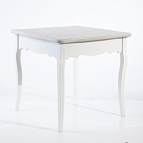 Mesa de comedor de madera, estilo shabby chic color blanco, parte superior gris blanqueado, 79 x 80 x 80 cm