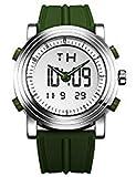 Sinobi para Hombre Reloj de Pulsera Deportivo Cuarzo electrónico Digital Reloj con Alarma Cronómetro Doble Movimiento Hombres de la muñeca Relojes s9368g