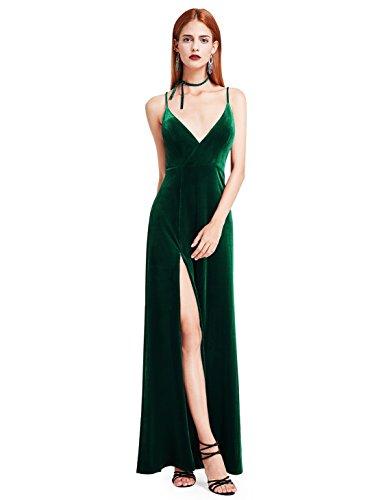 Ever Pretty Damen V-Ausschnitt Samt Lang Tanzabend Kleider 40 Größe Dunkelgrün (Weihnachten Kleid Samt)