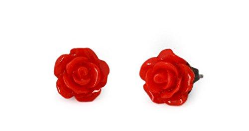 Miss Lovie Damen Ohrstecker Vintage Blumen Harz Ohrringe Cabochon 10mm Modeschmuck Rot Bronze