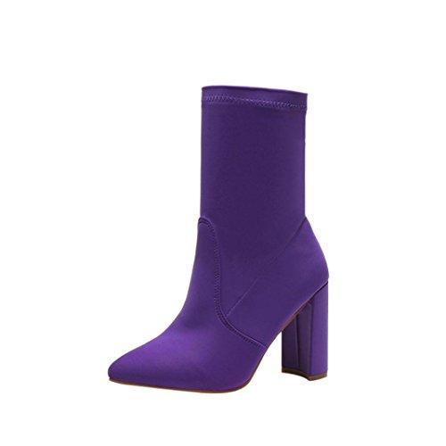TPulling Herbst Und Winter Schuhe Mode Damen Stretch-Tuch Wies hochhackige Stiefel Sportschuhe Martin Stiefel (37, Lila) (Lila Stiefeln)