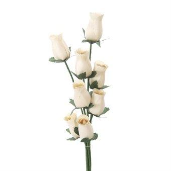 Rose in legno, 8 pezzi, colore: panna, mazzi legati, di alta qualità