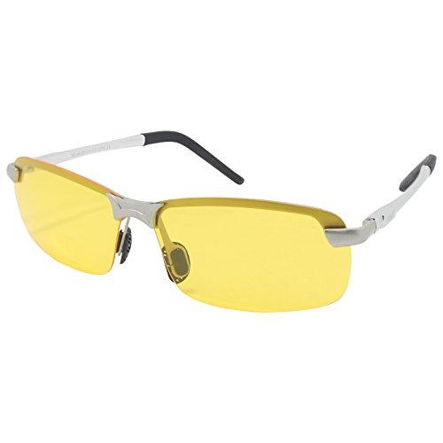 LZXC Nachtsicht Polarisiert Fahren Sonnenbrillen Sport Eyewear Ultra-Light AL-MG Rahmen-Silber Rahmen Gelb Objektiv für Männer