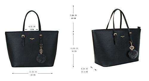 LI&HI Handtasche Damen Handtasche Shopper Schwarz Elegant Schwarz Handtasche Große Handtasche Marken mit Kaninchen Pelz Kugel Plüsch Schlüsselring (Verbesserte Version)- 34/29/15.5 CM